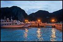 Harbor and cliffs at dusk, Ko Phi-Phi island. Krabi Province, Thailand ( color)