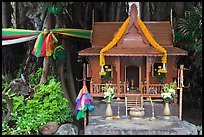 Spirit house and banyan roots, Phi-Phi island. Krabi Province, Thailand