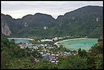 Twin bays and craggy hills, Ko Phi-Phi island. Krabi Province, Thailand