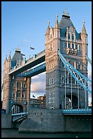Close view of the two towers of the Tower Bridge. London, England, United Kingdom