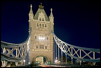 North Tower of the Tower Bridge at night. London, England, United Kingdom (color)