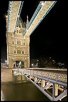 North Tower and upper walkway of the London Bridge at night. London, England, United Kingdom ( color)