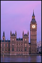 Big Ben tower, palace of Westminster, dawn. London, England, United Kingdom (color)