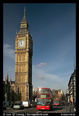 Double decker bus on Westminster Bridge  and Big Ben. London, England, United Kingdom