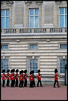 Guards marching during the changing of the Guard, Buckingham Palace. London, England, United Kingdom ( color)