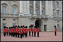Household division guards during the changing of the Guard ceremonial. London, England, United Kingdom ( color)