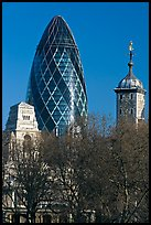 Swiss Re Tower (also known as 30 St Mary Axe, or The Gherkin), designed by Norman Foster. London, England, United Kingdom ( color)