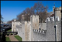 Rampart with crenallation,  Tower of London. London, England, United Kingdom ( color)