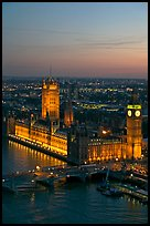 Aerial view of Westminster Palace from the London Eye at sunset. London, England, United Kingdom (color)