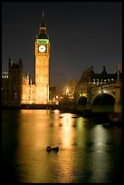 Big Ben reflected in Thames River at night. London, England, United Kingdom ( color)