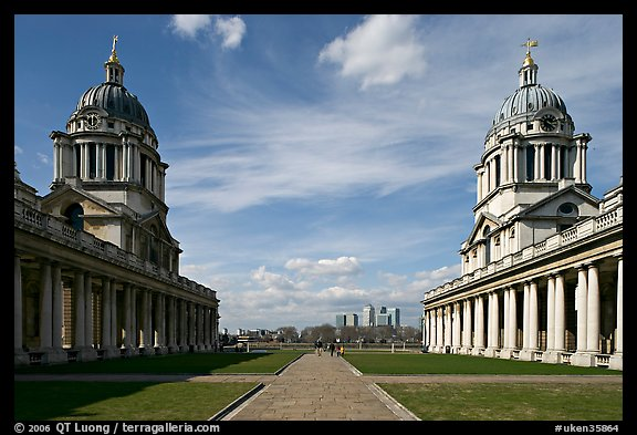 Symetrical domes of the Old Royal Naval College, designed by Christopher Wren. Greenwich, London, England, United Kingdom