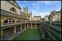 Pool of the Roman Bath, colored by green algae because of the loss of original roof. Bath, Somerset, England, United Kingdom