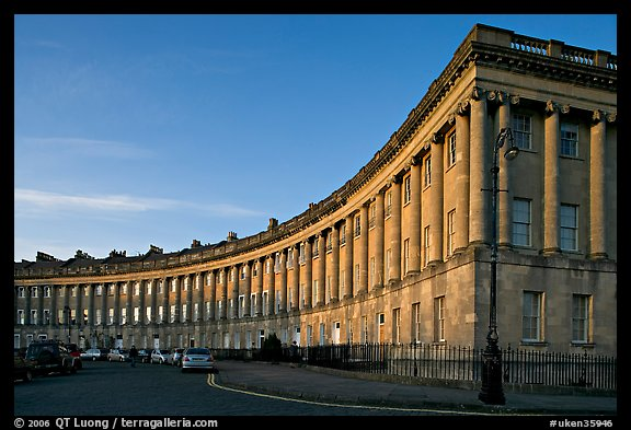 Royal Crescent, sunset. Bath, Somerset, England, United Kingdom (color)