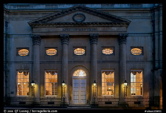 Pump Room at dusk. Bath, Somerset, England, United Kingdom (color)
