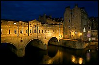 Pulteney Bridge, designed by Robert Adam, at night. Bath, Somerset, England, United Kingdom (color)