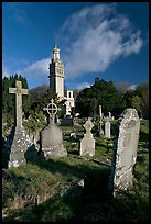 Victorian cemetery and Beckford tower. Bath, Somerset, England, United Kingdom