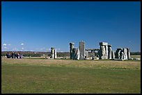 Large group of tourists looking at the megaliths, Stonehenge, Salisbury. England, United Kingdom (color)