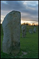 Megaliths forming part of a 348-meter diameter stone circle, sunset, Avebury, Wiltshire. England, United Kingdom