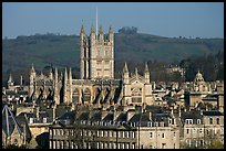 Bath Abbey rising over 18th century buildings. Bath, Somerset, England, United Kingdom