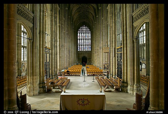 Altar and Nave, Canterbury Cathedral. Canterbury,  Kent, England, United Kingdom (color)
