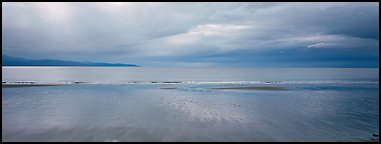Seascape with wet beach and clouds. Homer, Alaska, USA