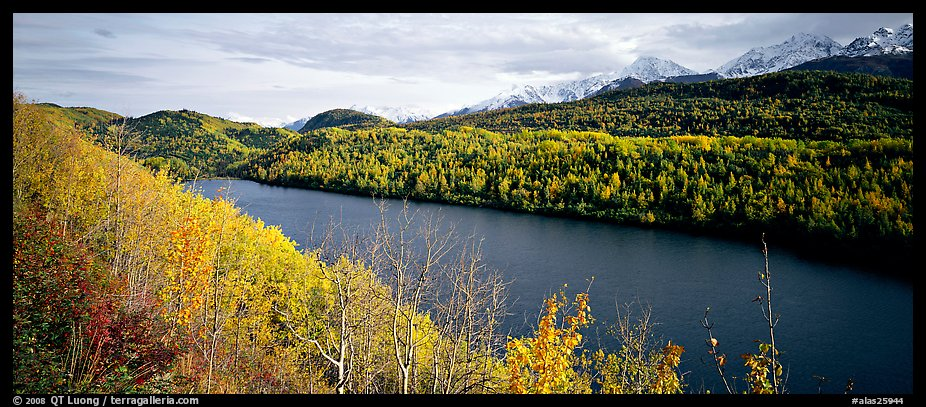 Autumn landscape with forest, lake, and mountains. Alaska, USA (color)