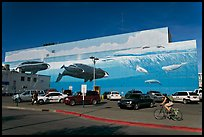 Parking lot with whale mural in background. Anchorage, Alaska, USA