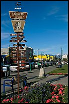 Downtown center with Air Crossroads of the World sign. Anchorage, Alaska, USA (color)