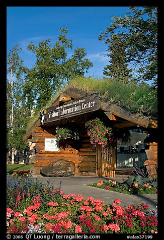 Log cabin visitor center. Anchorage, Alaska, USA (color)