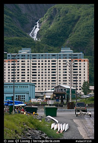 Boat ramp, Begich towers and Horsetail falls. Whittier, Alaska, USA