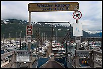 Ramp to harbor deck with Whittier sign. Whittier, Alaska, USA ( color)