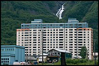 Begich towers and Horsetail falls. Whittier, Alaska, USA ( color)