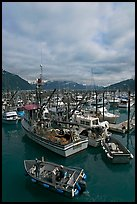 Fishing boats in harbor. Whittier, Alaska, USA (color)