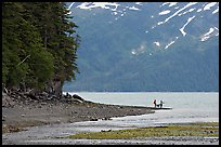 Women fishing and dog, at the edge of Passage Canal Fjord. Whittier, Alaska, USA ( color)