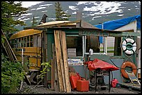 School bus reconverted for housing. Whittier, Alaska, USA ( color)