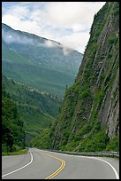 Richardson Highway passing between steep walls, Keystone Canyon. Alaska, USA (color)