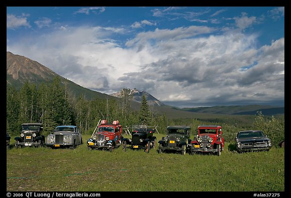 Row of classic cars lined up in meadow. McCarthy, Alaska, USA