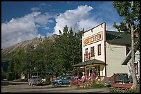 Hotel, main street, vintage car, and truck. McCarthy, Alaska, USA ( color)