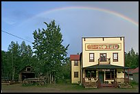 Rainbow over the historic Ma Johnson hotel building. McCarthy, Alaska, USA ( color)
