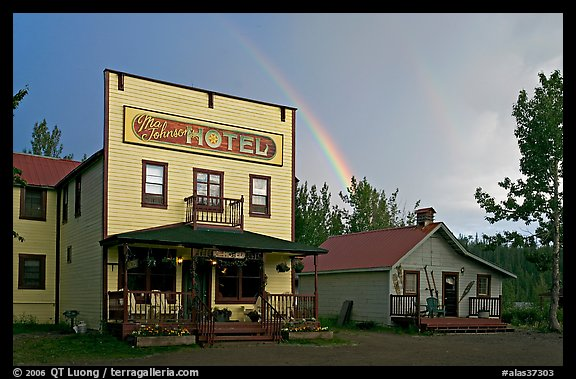 Ma Johnson  hotel and rainbow. McCarthy, Alaska, USA (color)
