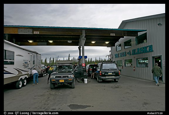 Cars and Rv at gas station The Hub of Alaska, Glennalen. Alaska, USA (color)