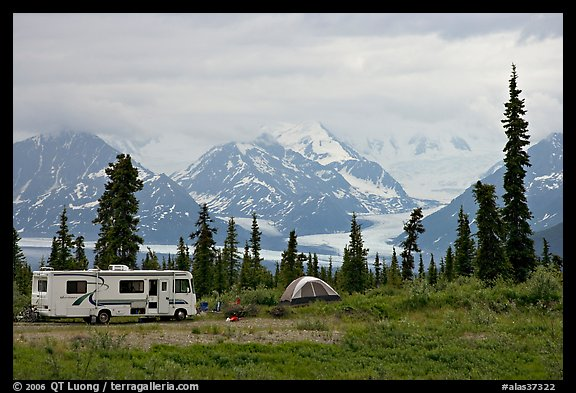RV, tent, with glacier and mountains in background. Alaska, USA (color)