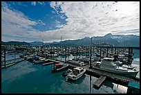 Small boat harbor, morning. Seward, Alaska, USA (color)