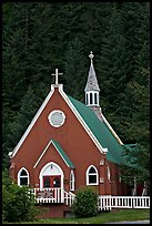 Red church. Seward, Alaska, USA (color)
