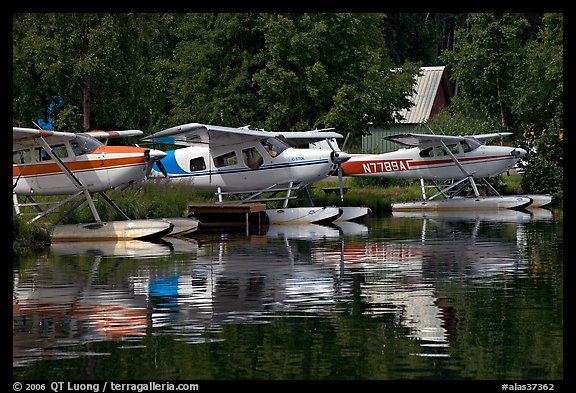 Float planes on Lake Hood, the largest float plane base in the world. Anchorage, Alaska, USA (color)