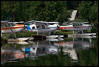 Float planes on Lake Hood, the largest float plane base in the world. Anchorage, Alaska, USA