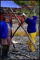 Inupiaq Eskimo women drying fish, Ambler. North Western Alaska, USA (color)