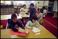 Inupiaq Eskimo kids in the classroom. Note names on table. Kiana. North Western Alaska, USA
