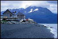 Houses on the beach at Lowell Point. Seward, Alaska, USA (color)