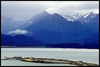 Distant view of the Spit and Kenai Mountains. Homer, Alaska, USA ( color)